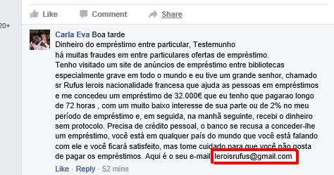 Fraude de empréstimo pelo Facebook