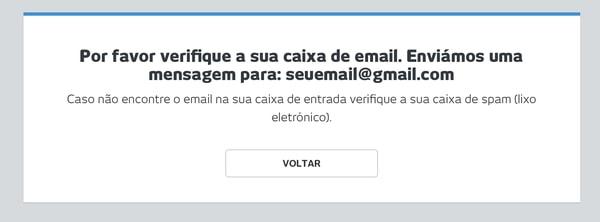 Confirmar caixa de e-mail