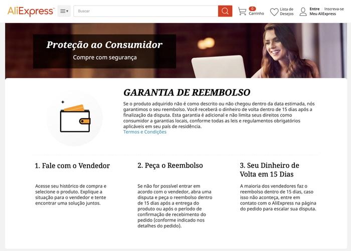 Proteção ao consumidor no AliExpress