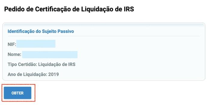 Obter pedido de certificação de liquidação de IRS